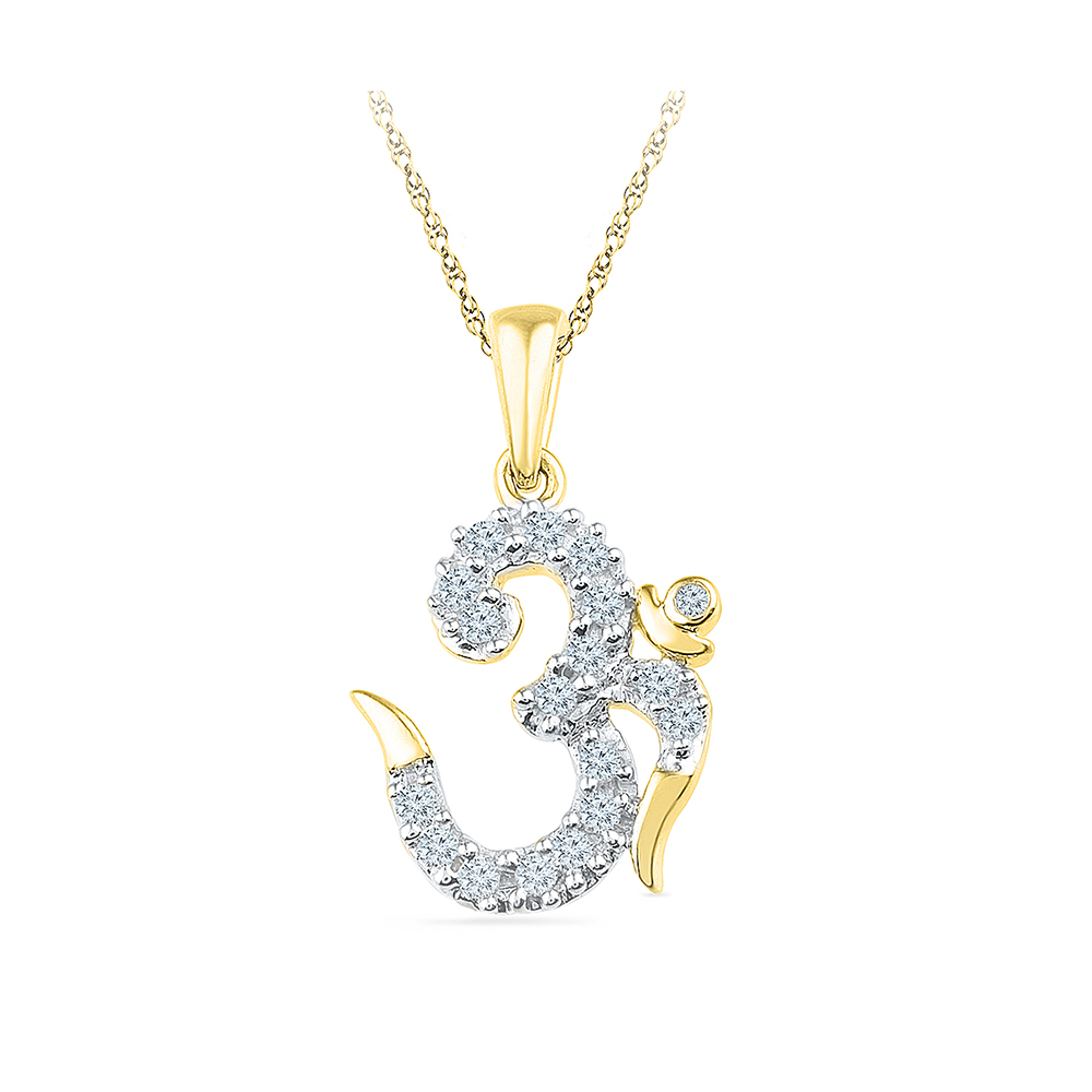 This beautiful pendant holds 18 diamonds with a total diamond weight radiant bays spiritual multi diamond om pendant in 14kt white gold mozeypictures Image collections