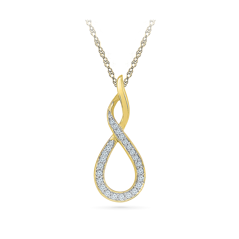 This beautiful pendant holds 25 diamonds with a total diamond weight radiant bays infinity twirls diamond pendant in 14kt white gold mozeypictures Gallery
