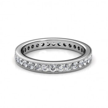 White Gold Milgrain Channel Set Diamond Full Eternity Ring - 5 cent diamonds
