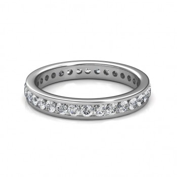 White Gold Channel Set Diamond Full Eternity Ring - 5 cent diamonds